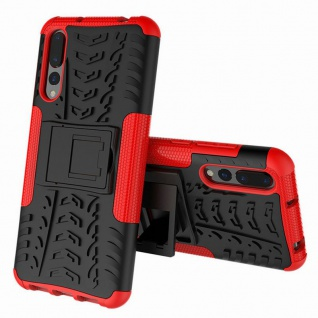 Für Huawei P Smart Plus Hybrid Case 2teilig Outdoor Rot Etui Tasche Hülle Cover