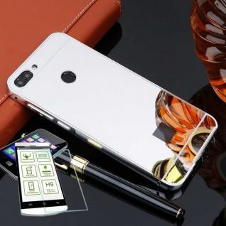 Alu Bumper 2 teilig Silber + 0, 3 H9 Glas für Huawei P Smart Tasche Hülle Case