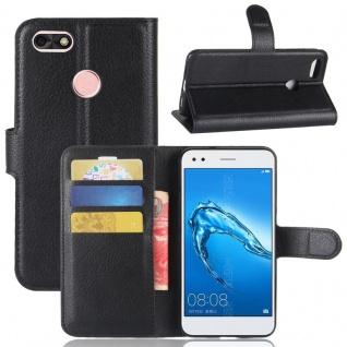Tasche Wallet Premium Schwarz für Huawei Y6 Pro 2017 / Enjoy 7 Hülle Case Cover