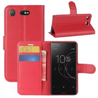 Schutzhülle Rot für Sony Xperia XZ1 Compact / Mini Bookcover Tasche Case Cover