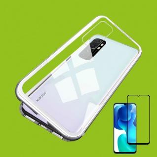 Für Xiaomi Mi Note 10 Lite Magnet Handy Tasche Bumper Hülle Silber + 4D H9 Glas