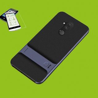 Für Huawei Mate 20 Lite Standing Hybrid Case Tasche Outdoor Etuis Blau + H9 Glas