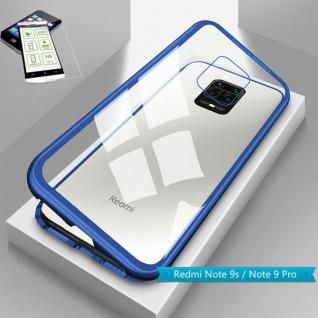 Für Xiaomi Redmi Note 9S Magnet Handy Tasche Hülle Blau Transparent + H9 Glas