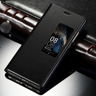 Booktasche Flip Window Schwarz für Huawei P10 Plus Tasche Cover Hülle Case Etui
