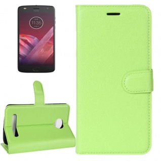 Tasche Wallet Premium Grün für Motorola Moto Z2 Play Hülle Case Cover Etui Neu