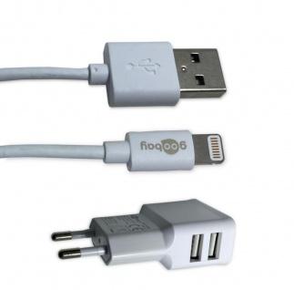 Goobay USB Datenkabel Ladegerät Lightning Ladekabel Stecker Set Apple Weiß