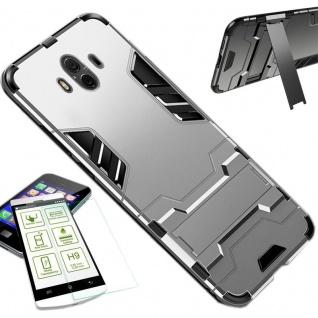 Für Huawei P Smart Plus Tasche Case Metal Style Hybrid Hülle Silber + H9 Glas