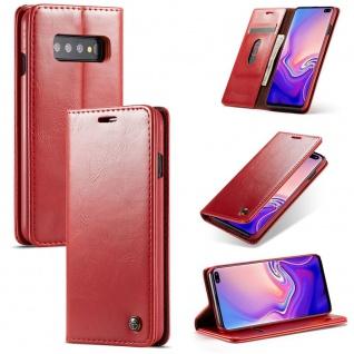 Schutzhülle Handy Tasche für Samsung Galaxy S10 Business + Kartenfach Wallet Rot