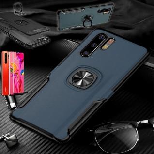 Für Huawei P30 Pro Magnet Metall Ring Hybrid Blau Tasche Etuis + 4D H9 Glas Case