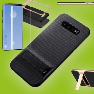 Standing Hybrid Tasche Schwarz für Samsung Galaxy S10 Plus + 4D H9 Curved Glas