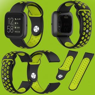 Für Fitbit Versa 2 Kunststoff Silikon Armband für Frauen Größe S Schwarz-Grün