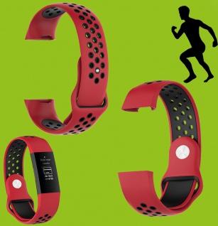 Für Fitbit Charge 3 Kunststoff Silikon Armband für Frauen Größe S Rot-Schwarz