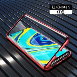 Beidseitige Magnet Glas Bumper Handy Tasche Rot für Xiaomi Redmi Note 9 Hülle