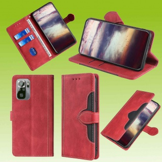 Für Xiaomi Redmi Note 10 Pro Design Handy Tasche Rot Etuis Kunst-Leder Hülle Neu