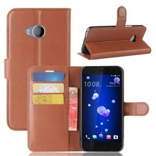 Tasche Wallet Premium Braun für HTC U11 Life Hülle Case Cover Etui Schutz Neu
