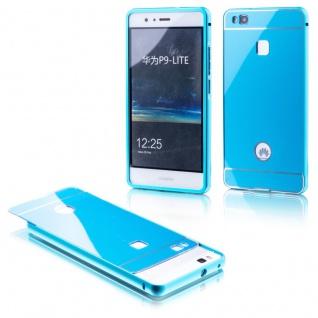 Alu Bumper 2 teilig mit Abdeckung Blau für Huawei P9 Lite Tasche Hülle Case Neu