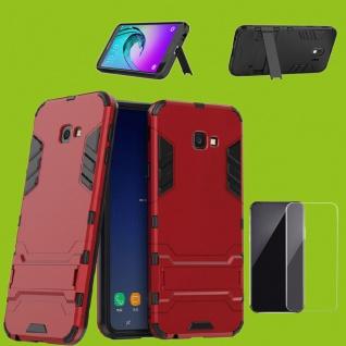 Für Samsung Galaxy J4 Plus J415F Tasche Metal Style Hülle Rot + 0, 26 H9 Glas Neu