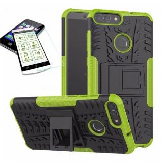 Für Huawei P Smart Hybrid Tasche Case Outdoor 2teilig Grün Hülle + H9 Glas Hülle