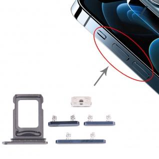 Sim Karten Halter und Power / Lautstärke Button Apple iPhone 12 Pro Blau Neu