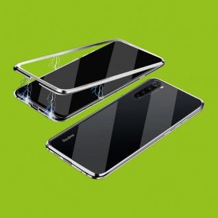 Beidseitiger 360 Grad Magnet Glas Bumper Tasche Silber für Xiaomi Redmi Note 8T