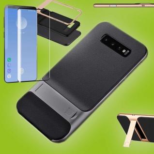Standing Hybrid Tasche Etuis Grau für Samsung Galaxy S10 + 4D H9 Curved Glas Neu