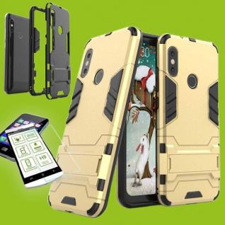 Für Xiaomi MI A2 Lite Tasche Metal Style Hybrid Case Hülle Gold + 0, 26 H9 Glas