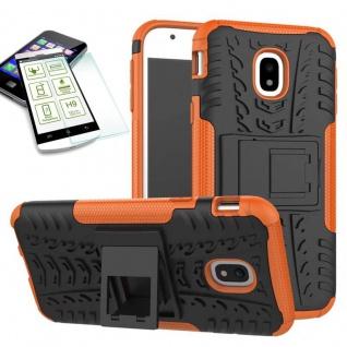Hybrid Case Tasche 2teilig Orange für Samsung Galaxy J3 2017 J330F + H9 Hartglas