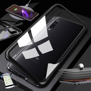 Für Xiaomi Mi 9 Lite Magnet Handy Tasche Hülle Schwarz / Transparent + H9 Glas