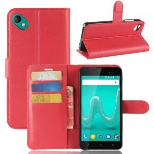 Tasche Wallet Premium Rot für Wiko Sunny 2 Plus Hülle Case Cover Etui Schutz Neu - Vorschau 1