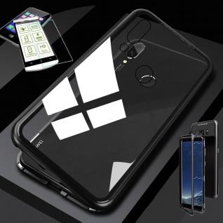 Für Huawei Honor View 20 / V20 Magnet Tasche Schwarz / Transparent + H9 Glas Neu