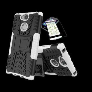 Für Sony Xperia XA2 Plus Hybrid Case 2 teilig Weiß Hülle + 0, 3 mm H9 Glas Tasche