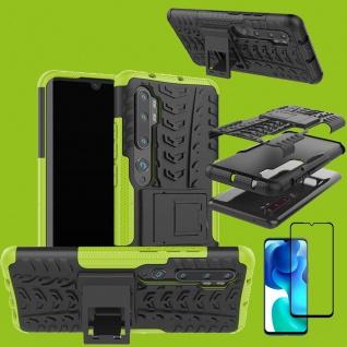 Für Xiaomi Mi Note 10 Lite Hybrid Handy Tasche Grün + 4D Curved H9 Glas Panzer