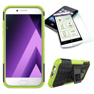Hybrid Case Tasche 2teilig Grün für Samsung Galaxy A3 2017 A320F + H9 Hartglas