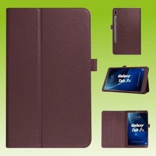 Für Samsung Galaxy Tab S7 Plus / S7 FE Braun Kunst Leder Hülle Tablet Tasche Etuis Cover