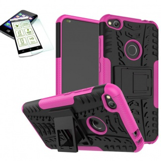 Hybrid Case Tasche Outdoor 2teilig Pink für Huawei P8 Lite 2017 + Hartglas Neu