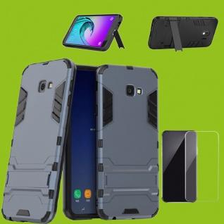 Für Samsung Galaxy J4 Plus J415F Tasche Metal Style Hülle Grau + 0, 26 mm H9 Glas