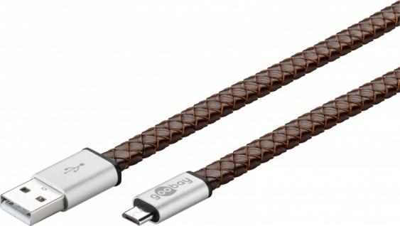 EchtLeder USB Sync & Ladekabel für Geräte mit Micro USB Stecker Datenkabel Kabel