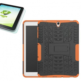 Hybrid Outdoor Tasche Orange für Samsung Galaxy Tab S3 9.7 T820 + 0, 4 Hartglas