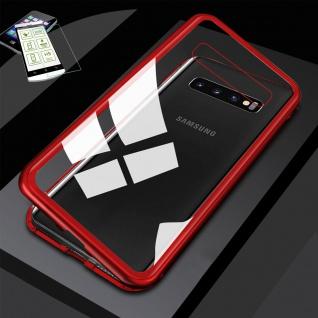 Für Samsung Galaxy S10e G970F Magnet Tasche Rot / Transparent + H9 Glas Etuis