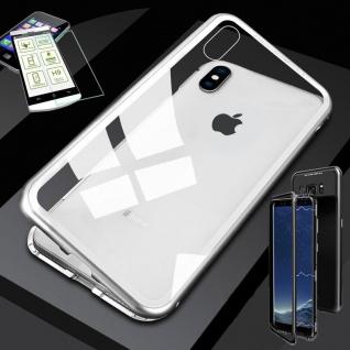 Für Apple iPhone XS MAX Magnet Glas Tasche Silber / Transparent + 0, 26 H9 Glas