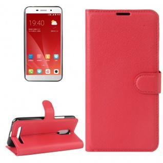 Tasche Wallet Premium Rot für ZTE Blade A602 Hülle Case Cover Etui Schutz Neu