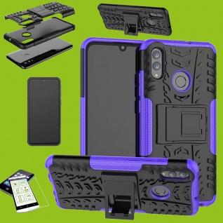 Für Samsung Galaxy A20e Hybrid Tasche Outdoor 2teilig Lila + H9 Glas Etuis Cover