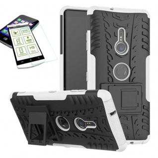 Für Sony Xperia XZ3 Hybrid Case 2 teilig Weiß Hülle + 0, 3 mm H9 Glas Tasche Neu