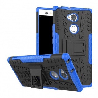Hybrid Case 2teilig Outdoor Blau Tasche Hülle für Sony Xperia XA2 Etui Cover