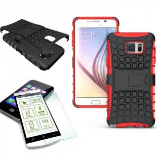 Hybrid Case Tasche 2teilig Rot für Samsung Galaxy Note 5 SM-N920 F + Panzerglas