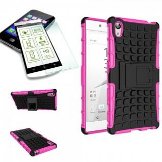 Hybrid Case 2 teilig Pink für Sony Xperia Z5 5.2 Zoll + 0, 3 H9 Hartglas Tasche