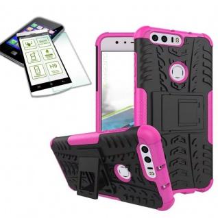 Hybrid Case Tasche Outdoor 2teilig Pink für Huawei Honor 8 + Hartglas Cover