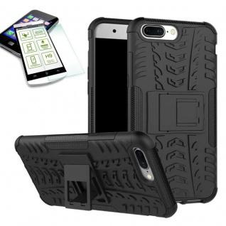 Hybrid Case Tasche Outdoor 2teilig Schwarz für ONEPlus 5 Hülle + Hartglas Etui