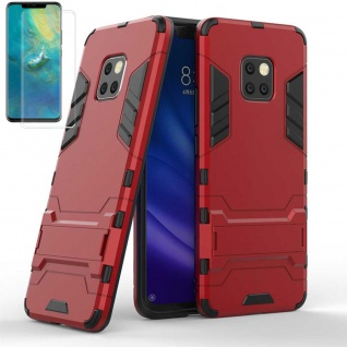 Für Huawei Mate 20 Pro Tasche Metal Style Hybrid Case Hülle Rot + 4D Curved Glas