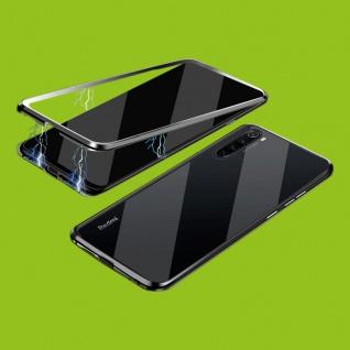 Beidseitiger 360 Grad Magnet Glas Bumper Tasche Schwarz für Xiaomi Redmi Note 8